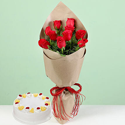 Bouquet Of Red Roses & Pineapple Cake: Red Flowers
