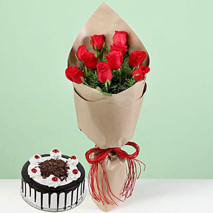 Red Roses With Black Forest Cake: Red Flowers