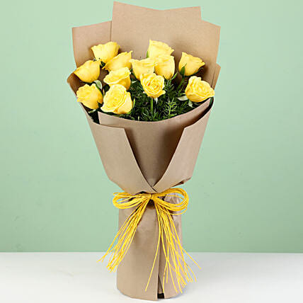12 Perky Yellow Roses In Brown Paper: Yellow Flowers