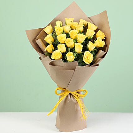 Bright 24 Yellow Roses Bouquet: