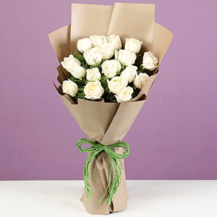 Majestic 18 White Roses In Brown Paper: Gift Ideas