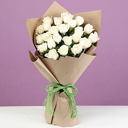 Majestic 24 White Roses In Brown Paper: White Flowers