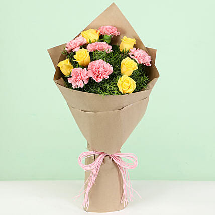 Appealing Pink & Yellow Flowers Bouquet: