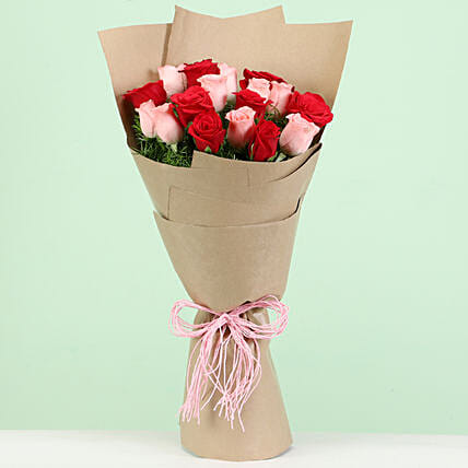 Beautiful Red & Pink Roses Bouquet: Mixed Roses