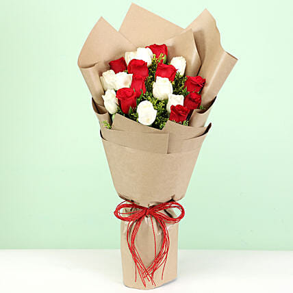 Delightful Red & White Roses Bouquet: