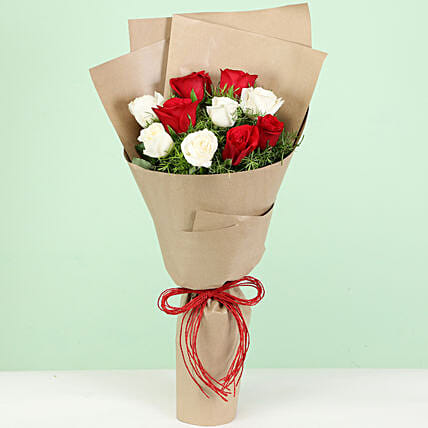 Lovely White & Red Roses Bouquet: Mixed Roses