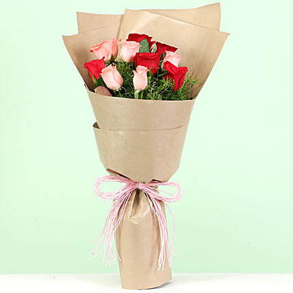 Red & Pink Roses Bouquet: