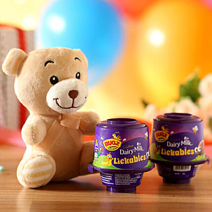 Adorable Teddy Bear & Cadbury Lickables:
