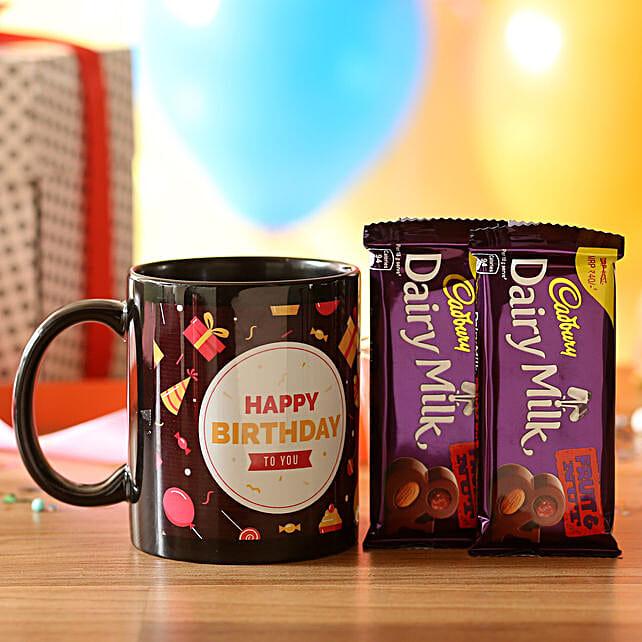 Birthday Wishes Mug & Dairy Milk Fruit N Nut: