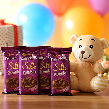 Cuddly Bear & Dairy Milk Bubby Combo: Soft Toys Gifts