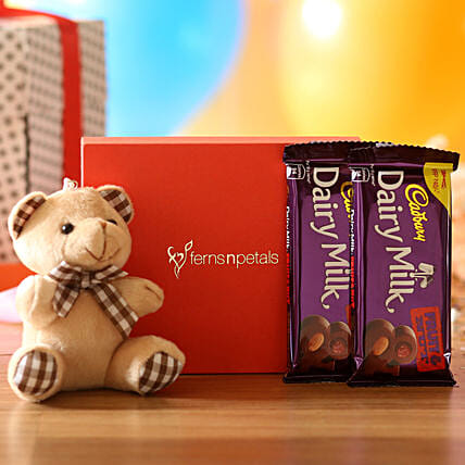 Cuddly Bear & Dairy Milk Fruit N Nut Combo: Cadbury Chocolates