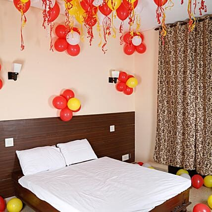 Colourful Balloons Decor- Red, White & Yellow: Unique Gifts for Anniversary