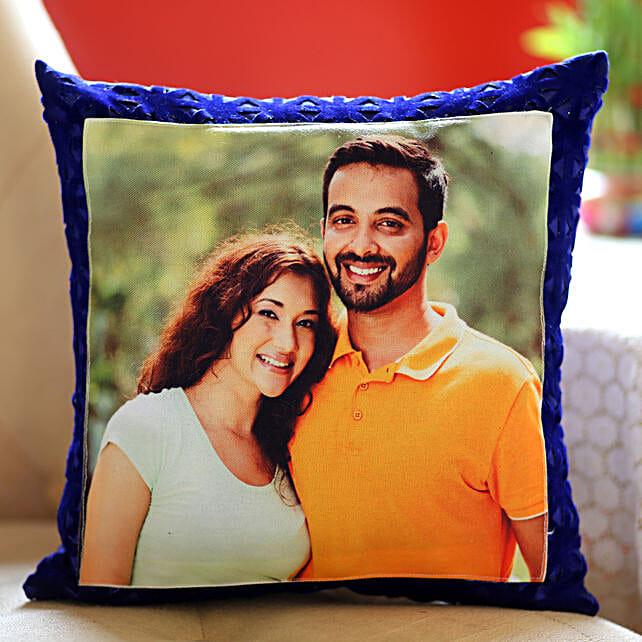 Personalised Blue Velvet Cushion: Cushions