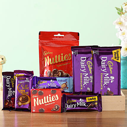 Wooden Tray Of Cadbury Sweetness: Gift Hampers