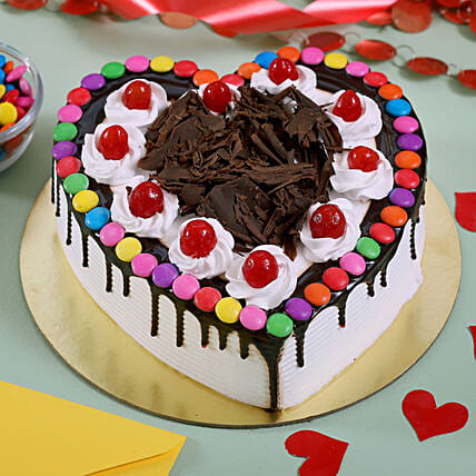 Black Forest Gems Decorated Heart Cake: Black Forest Cakes