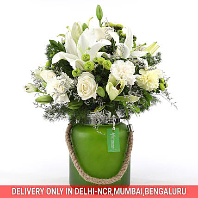 Mixed White Flower Jar: White Flowers