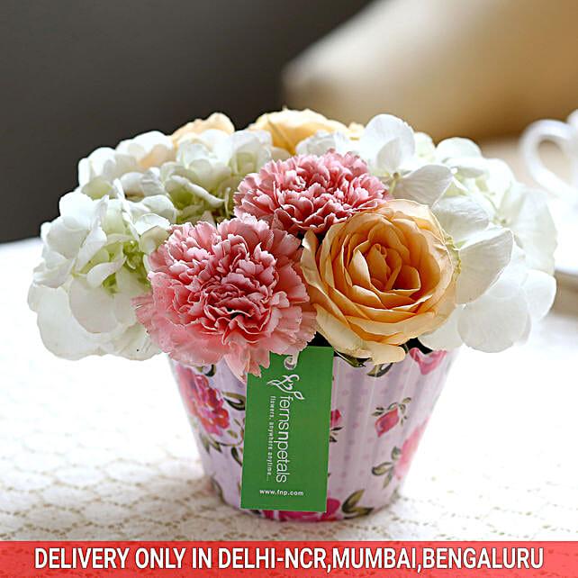 Roses & Carnations Cupcake Arrangement: Exotic Flowers