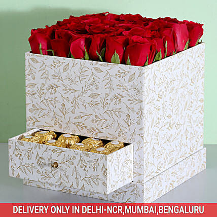 Stylish Box Of Red Roses & Chocolates: Flowers In box