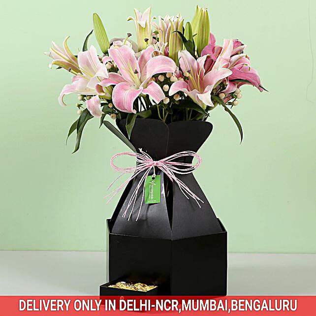 Stylish Box Of White Lilies & Chocolates: Premium Flowers