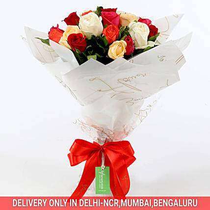 Vibrant Mixed Coloured Rose Bouquet: Valentine Gifts