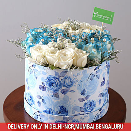 White & Blue Rose Box: Mixed Roses