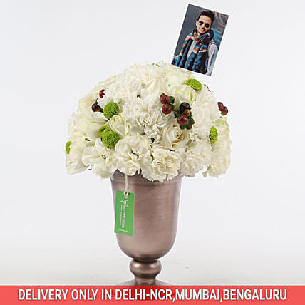 White Roses & Carnations Arrangement: Flowers N Personalised Gifts