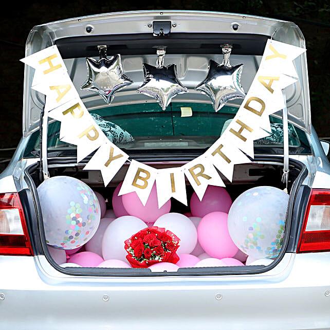 Birthday Surprise Car Boot Decor: Car Flower Decoration