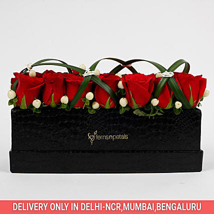 21 Premium Enticing Red Roses in Black FNP Box: Red Roses