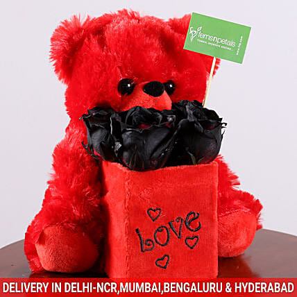 Black Roses & Teddy Bear Combo: Send Soft Toys