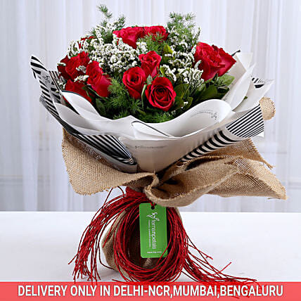 Vibrant 20 Red Roses Bouquet: