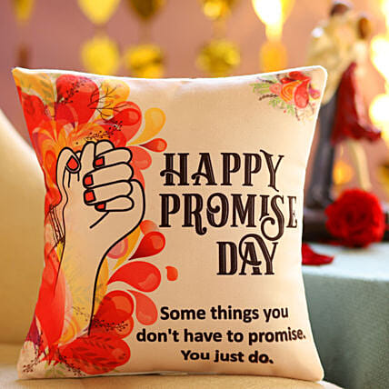 Promise Day Greetings Cushion: Send Promise Day Gifts