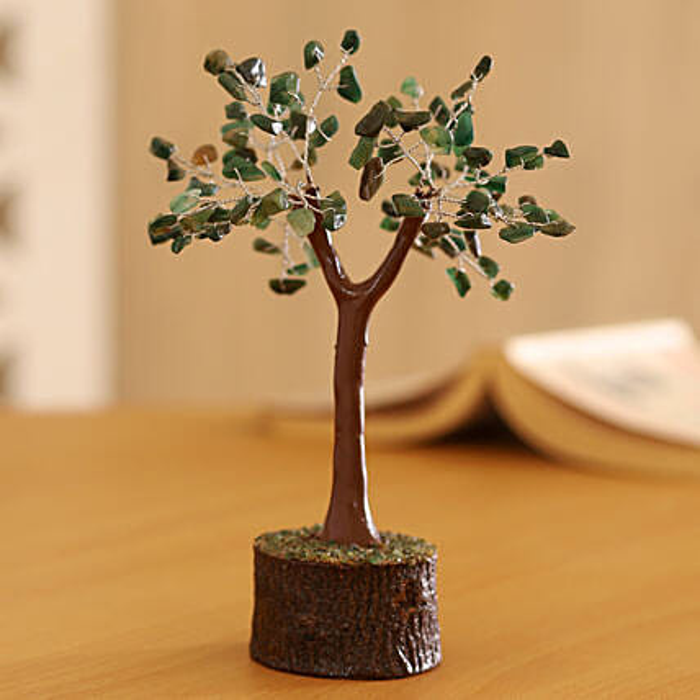 "Green Aventurine Gemstone Wishing Tree 7.5"": Send Christmas Trees"