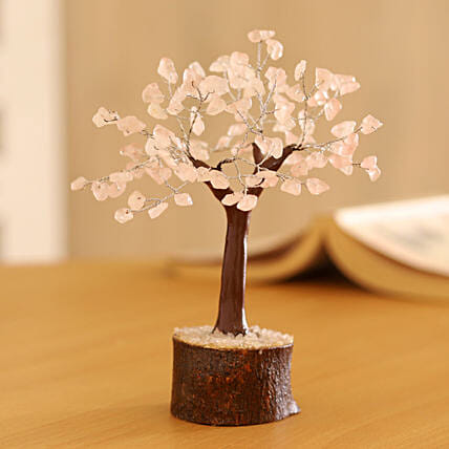 "Rose Quartz Gemstone Wishing Tree 7.5"": Christmas Tree"