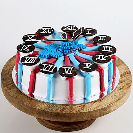 Red & Blue Clock Cake: Gifts to Rampur