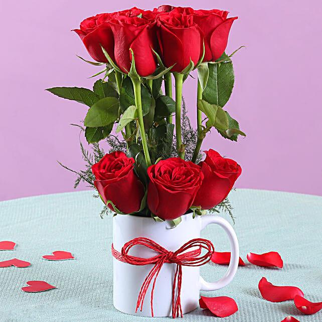 Romantic Red Roses Mug Arrangement: Flower Arrangements