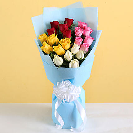 Vibrant Roses Bouquet: Mixed Roses