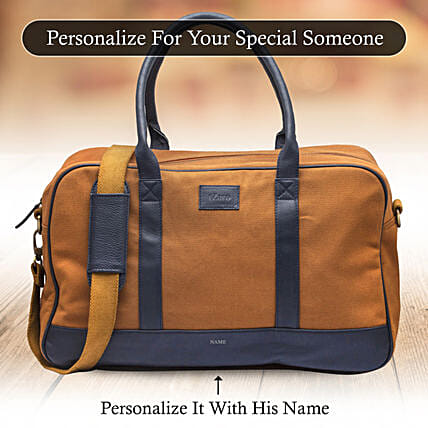 Personalised Brown Duffle Bag: