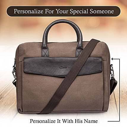 Personalised Portfolio Sling Bag- Brown: Personalised Leather Gifts