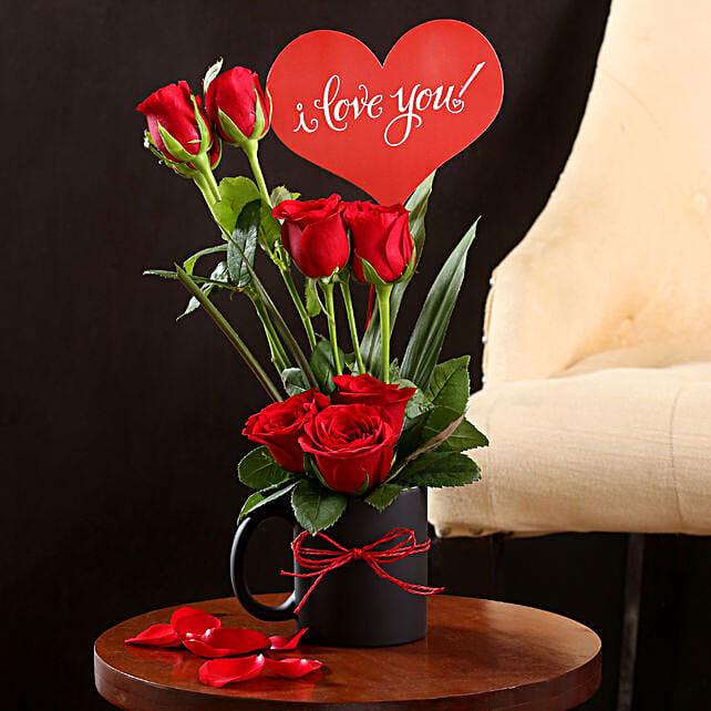 I Love You Red Rose Vase: Hug Day Gifts