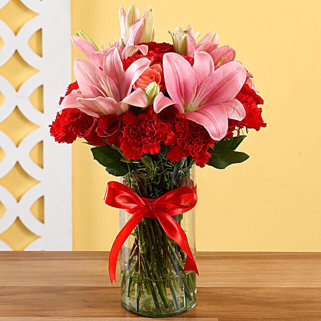 Lilies & Roses Elegant Vase: Gift For Karwa Chauth