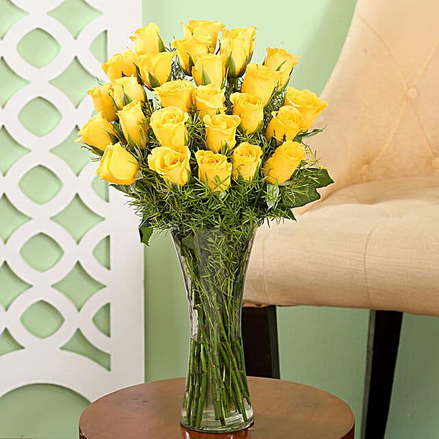 Yellow Roses Friendship Vase: