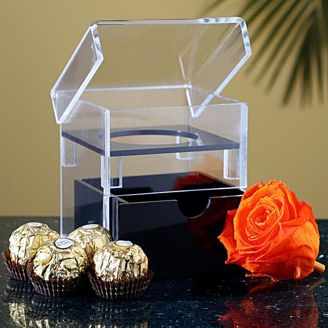Acrylic Box Of Forever Rose & Ferrero Rocher: Buy Flowers Combo