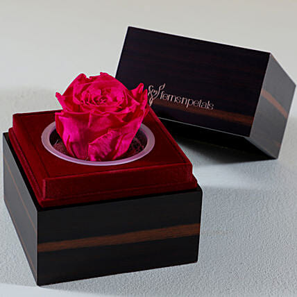 Charming Pink Forever Rose In Wooden Box: