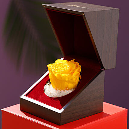 Charming Yellow Forever Rose In Wooden Box: Valentines Day Flowers