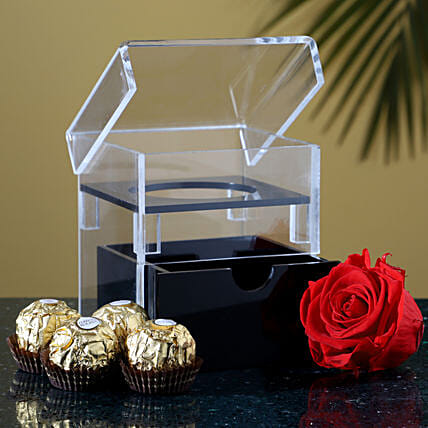 Eternal Red Forever Rose With Ferrero Rocher: Premium Flowers