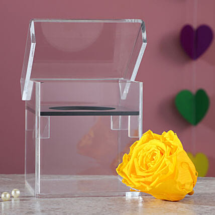 Forever Rose In Acrylic Box: Yellow Flowers