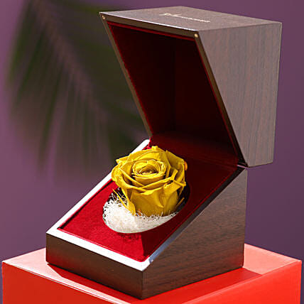 Olive Green Forever Rose In Wooden Box: Flowers for Valentines Day