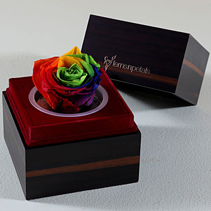 Wooden Box With Multicolour Forever Rose: