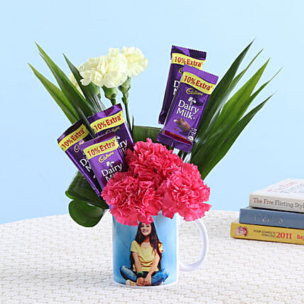 Pink & Yellow Carnations In Picture Mug: Anniversary Gift Combos
