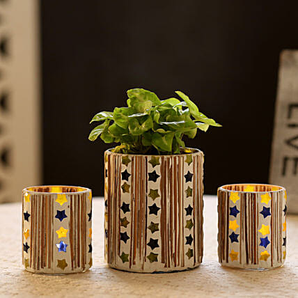 Syngonium Plant In Mosaic Art Pot & 2 Votive Holders: Gift Ideas